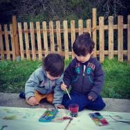 Pintura com aguarelas na rua